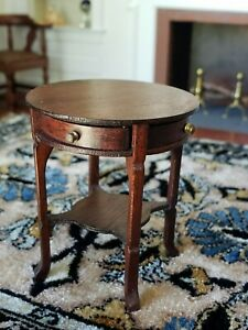 Dollhouse Miniature Artisan Escutcheon Side Table Signed 1:12