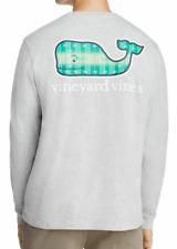 Vineyard Vines Men's L/S Gray Heather Football Field Whale Graphic Pocket Shirt