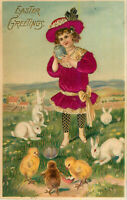 Postcard Easter Greetings, Girl in Purple Dress With Bunnies Chicks Eggs, Posted