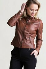 Woman Slim Fit Brown Genuine Real Leather Biker Jacket