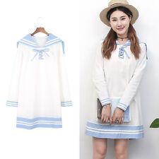 Summer Sailor Collar Long Sleeve Striped Dresses Preppy Style Women Dress