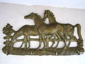 "Vintage Solid Cast Brass Horse Equestrian Wall 4 Hook Key Holder. 11"" x 6""."