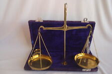 Vintage Brass Balance Scale with weights in velvet covered case UNIQUE