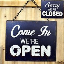 Blechschild geöffnet geschlossen open closed beidseitig shabby chic retro  NEU