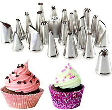FD2014 Piping Nozzles Pastry Tips Cake Baking Stainless Steel Decor Tool 24PC G