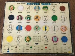"""Vintage """"Help Yourself"""" Picture Word Puzzle  Whitman No. 2 1958"""