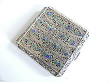 SUPERB ANTIQUE FILIGREE ENAMELED STERLING SILVER POWDER COMPACT PERSIAN ?