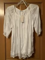 NWT Bellambra Blouse 1/2 Sleeve Floral Embroided Silk Blend White Lined Italy 2X