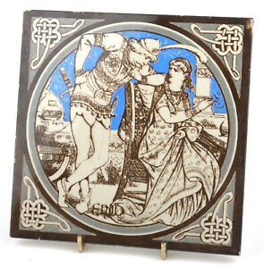 Mintons China Works Idylls Of The King 'Enid' Tile by John Moyr Smith c.1876