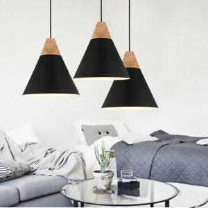 3X Black Pendant Light Modern Lights Wood Ceiling Lamp Home Chandelier Lighting