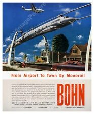streamlined future monorail art 1946 Bohn ad poster 24x30