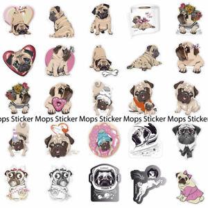 Sticker Mops pug Aufkleber Set 39-bunt-Mops-stickers