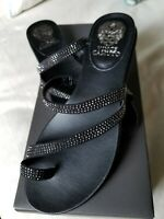 Vince Camuto Evina Black Toe Ring Sandals 7.5