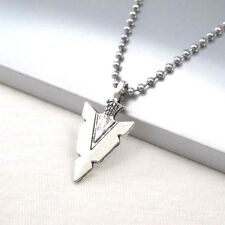 """Vintage Silver Alloy Native American Spear Arrow Pendant 24"""" Ball Chain Necklace"""