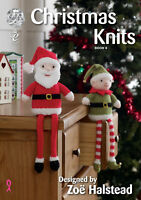 King Cole Christmas Knits Book 4 Shelf Sitters Baubles Cushion Stocking Garland