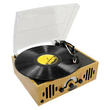 PYLE RETRO 3-SPEED 33/45/78 WOODEN CASE TURNTABLE RECORD PLAYER AM/FM STEREO AUX