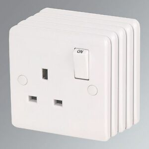 13A 1-Gang DP Switched Plug Socket White Pack of 5 Round Edge