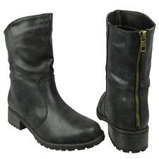 Women Faux Leather Motorcycle Ankle Boots w/ Block Heel Black Size 5.5-10