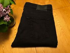 AG ADRIANO GOLDSCHMIED PROTEGE STRAIGHT BLACK SATEEN JEANS 32 X 32 NWOT... NICE!