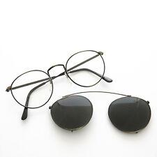 Round Eyeglass Frame w/ Clip-On Aviator Vintage Sunglass Bronze-TOLKIEN