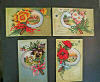 4 Antique Greeting Postcards ~ Florals, Scenes in Looking Glass, Same Series