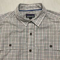 The North Face Mens Size Large L Short Sleeve Button Front Shirt Plaid Shirt