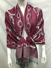 2PLY THICK PASHMINA CIRLCE CHAIN REVERSIBLE WEAR SCARF WRAP PLUM WHITE