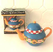 Mary Engelbreit Miniature Teapot Ornament 2 Piece Set Sunflower Design New