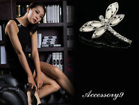 2 pcs crystal White Cat's Eye Beads silver plated dragonfly Brooch pin bride D35
