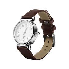 Women's Leather Strap Watches Casual Quartz Analog Round Dial Wrist Watch UK