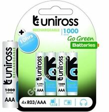4 x Uniross AAA Rechargeable Batteries 1000 mAh NiMH