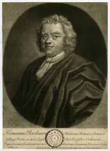 Rare Antique Master Print-PORTRAIT-HERMANUS BOERHAAVE-MEDICAL-White-ca. 1720