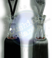 Tie Backs Pair Of Large Crystal Waisted Diamante Curtain Tassel Black Silver