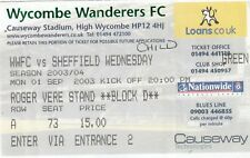Ticket - Wycombe Wanderers v Sheffield Wednesday 01.09.03