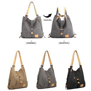 Damen Canvas Handtasche Rucksack Frauen Schultertasche Shopper Umhängentasche