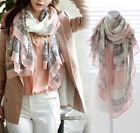 Women Ladies Long Print Cotton Scarf Wrap Shawl Girls Large Silk Scarves