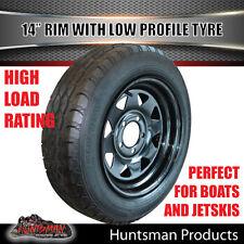 14x6 175/65R14 LT Sunraysia HQ Black Wheel Rim & Low Profile Tyre Trailer Boat
