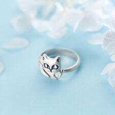 Ring Katze Kätzchen Kopf und Füße um den Finger gewickelt Sterling Silber 925