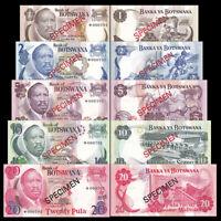 Botswana Set 5 PCS,  1 2 5 10 20 Pula, Specimen, matching, 000701, UNC