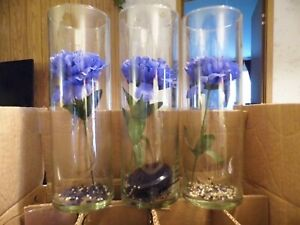 Blue, white mums as seen/vase pics, red roses, red & black rose petals ALL SILK