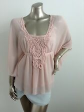 Ladies Pink Top Size Small Fits 6-8 With Lace EXCELLENT CONDITION By Sunny Girl
