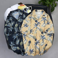 Mens Pineapple Print Loose Short Sleeve Shirt Male Hawaiian Style Beach Shirt US