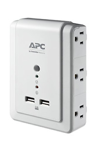 APC Wall Outlet Plug Extender, Surge Protector with USB Ports, PE6WU2, 6 AC Plug