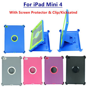 For iPad Mini 4 Rugged Defender Case Cover Triple Layer (Stand fits Otterbox)