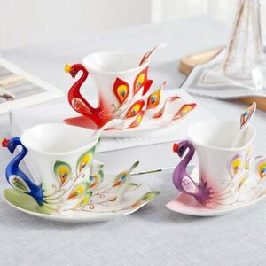Porcelain Coffee Cups Set With Saucer And Spoon Ceramic Teacups Peacock Designed