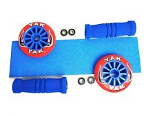 Blue/Red Yak Pack 100mm Wheels 4Bearings Grip and Handle Grips FREE POST