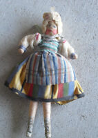 """Vintage 1940s Painted Face Cloth over Wire Dollhouse Ethnic Girl Doll 5 1/2"""" T"""