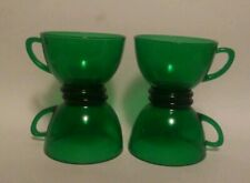 4 Vintage ANCHOR HOCKING Forest Green Punch COFFEE Cups
