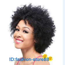Short Black Wig for Women Natural Party Wigs Afro Kinky Curly Synthetic Wig+caps