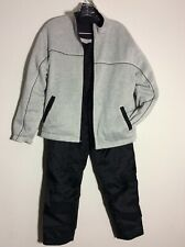 Mens Small Black Gray Reversible Sweatsuit Cotton Nylon Full Zip Jacket